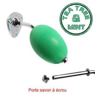 "Savon vert rotatif ""Tea Tree and Mint"" Provendi + porte-savon chromé écrou"