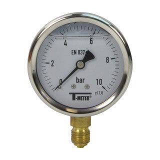 Manomètre inox - Insert laiton - 0-10 bars ø 63 - 1/4'' - Radial /  Glycérine