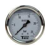 Manomètre inox - Insert laiton - 0-25 bars ø 63 - 1/4'' - Axial /  Glycérine