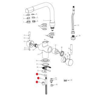 Tige filetée pour eau filtrée robinet Denali - 002